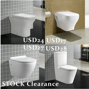 Stock clearance cheap sanitary ware WC toilet, cheap two piece toilet, cheap wall hung toilet, cheap back to wall toilets,