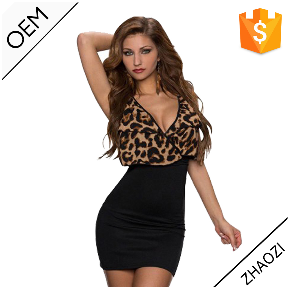 Latest Sexy S M L XXL Size Women Casual Bodycon Dress Designs Black Leopard V Neck