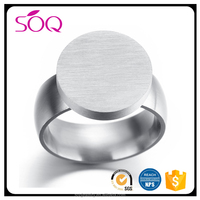 YIWU wholesale custom 316l stainless steel men round shape unique blank signet silver ring