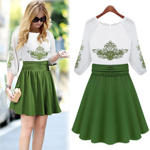 Spring summer big yards temperament Slim embroidery chiffon dress skirt 9586 foreign trade