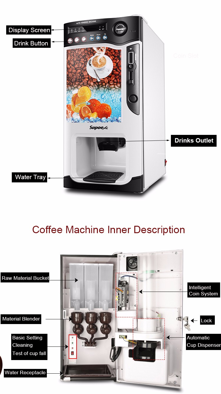Sapoe SC-8703BC3H3-S Cooling and Heating bean to automatic coin operated coffee maker with paper cups