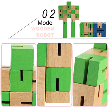 intelligent robot toys, wooden robot toys, robot puzzle toys custom logo Wooden Cubes Board Game