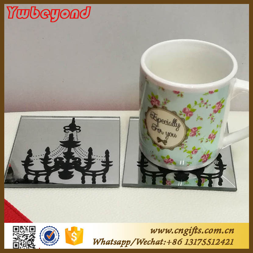 Ywbeyond mirror Glass Coaster cup mat pad birthday gift away wedding souvenirs philippines