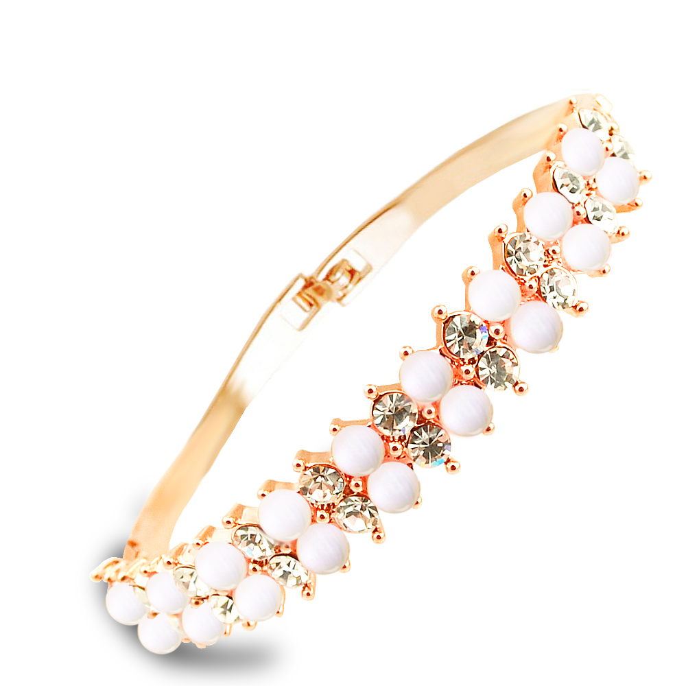 W039 Double-Deck Opal Bangles Women 18K Gold Plated Jewelry 2017 Latest Design Bangle Wholesale Valentine's Day Gifts