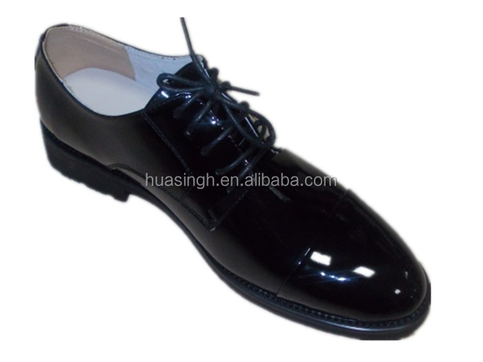 high shiny leather fold resistant men dress officer shoes for police/army/military