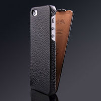 Top quality lychee pattern genuine leather phone case for iPhone 5 flip case