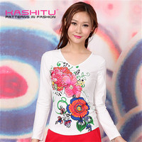 ladies casual long sleeve t shirt 95 cotton 5 spandex t shirts for women with sequin