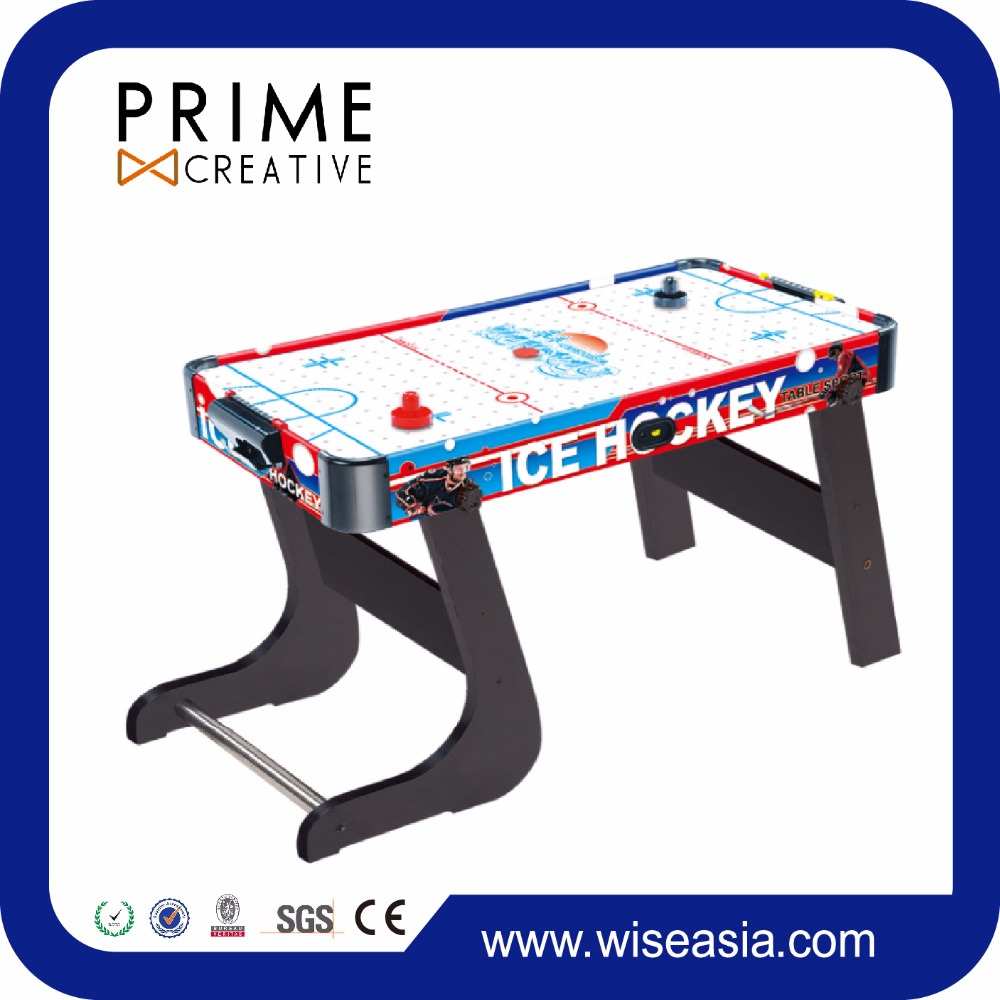 Air Powered Hockey MDF Table Game Indoor/Outdoor Sports Game Electronic Scoring Red/Black Puck for Kids