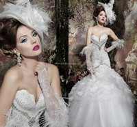 2015 Gorgeous High Quality Mermaid Sleeveless Euro Style Wedding Dresses Feather Beads Embellished FMG21