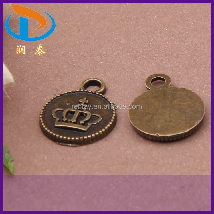 Wholesale 18*14MM Zinc Alloy Coin Charms Carved Crown Antique Bronze Pendants