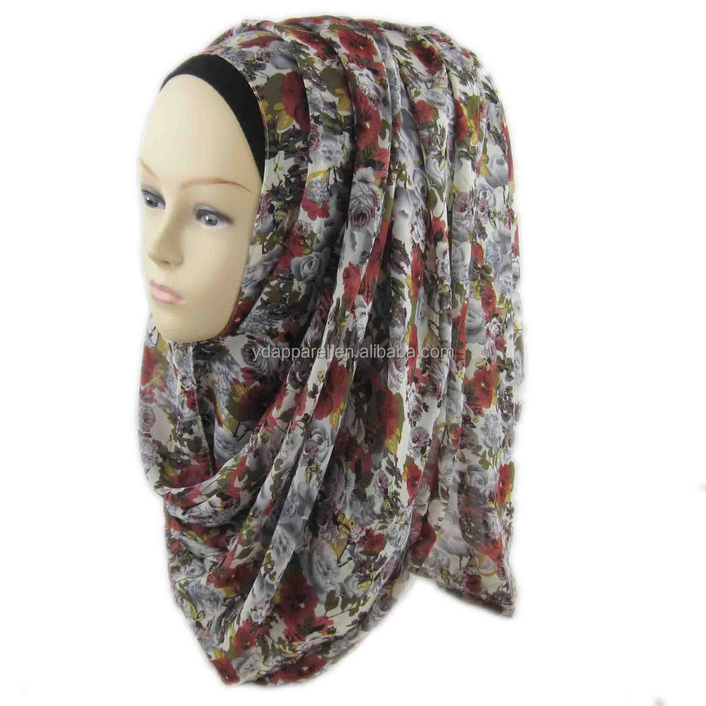 Latest Stock Printed Scarf Flora Chiffon Muslim Hijab for Women