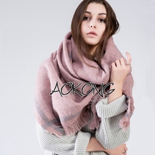Fashion women solid plain acrylic warm ladies winter shawl
