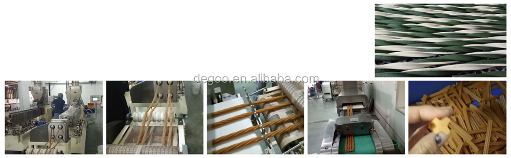 Automatic twin screw extruder spiral dental dog chew bone stick snack food maker machines production line