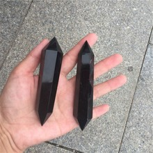 polished natural black quartz crystal wand obsidian <strong>point</strong>