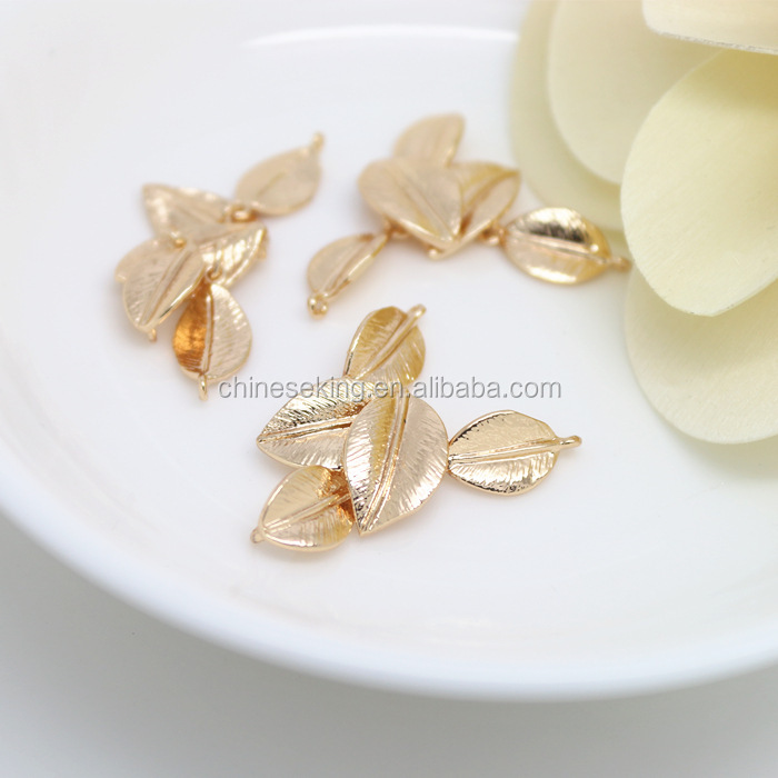 Leaf shape design charms tags wholesale 24K gold filled leaf charms tags diy jewelry accessories for bracelets and necklaces