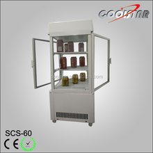 countertop vertilated four glass display upright refrigerator showcase