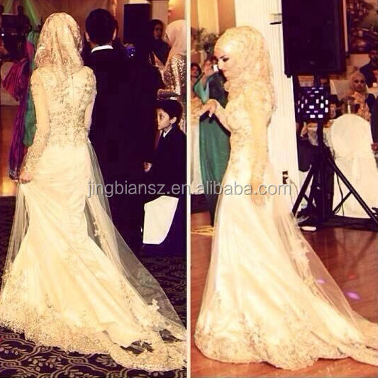 custom make Gorgeous long sleeves shinning sequins lace Islamic wedding dress OW13