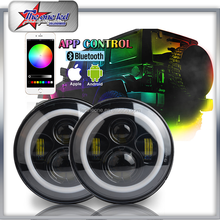 "DOT Approved 80w 9600LM 7"" inch led headlight jeep RGB halo ring headlight Hi/Lo beam Smartphone App Control For jeep wrangler"