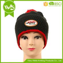 Top selling special design jaquard woven winter hats with ball on top from manufacturer