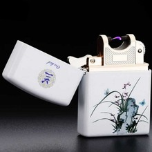 Chinese national wind USB lighter USB charging pulse arc electronic Ceramic color printing cigarette lighter-JL206