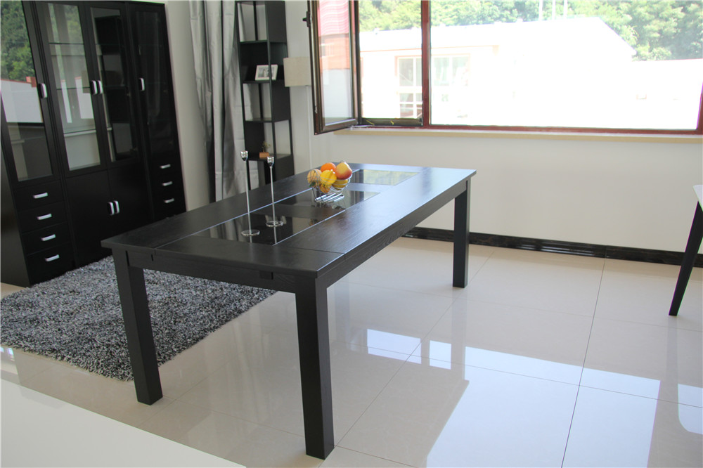Matt Lacquer E1 MDF Dining Table Black Dining Room Sets Design Furniture