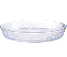 Hot sale transparent glass baking tray/ pie plate/ pizza pan with leaf shape decoration
