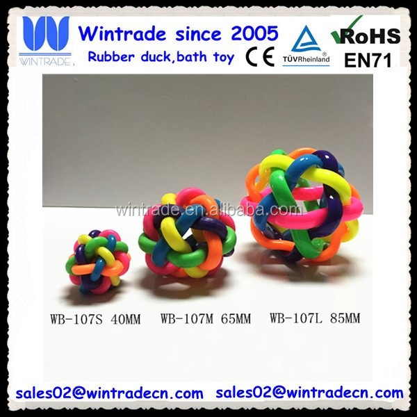 High bounce stress relief ball rubber rainbow weave ball