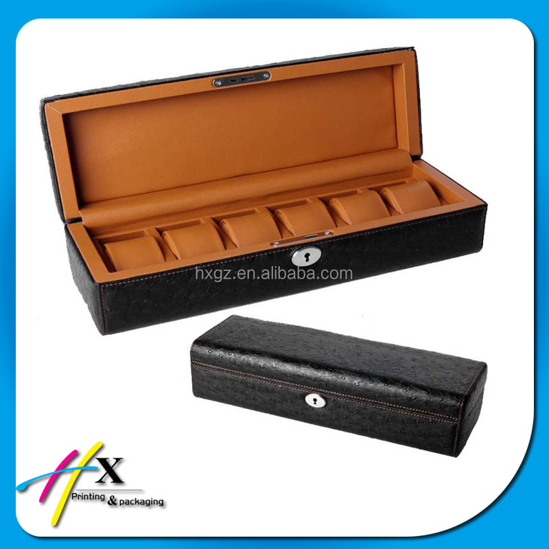 high quality PU coated wooden watch storage box at good price