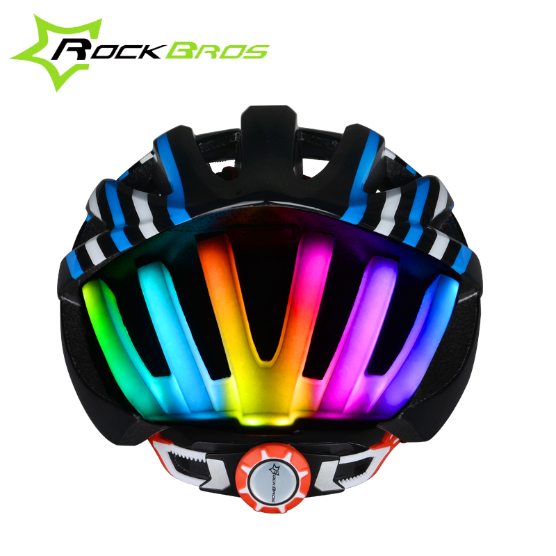 ROCKBROS OEM Design In-mold Bike Bicycle Cycling Helmet with Colorful Flashing <strong>LED</strong> Light Pink Adult Bicycle Helmets
