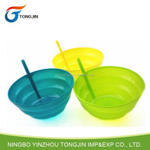 Colorful Plastic Bowl With Straw