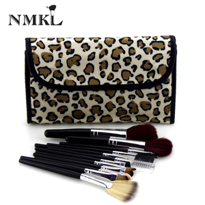 NMKL Manufacture Custom Logo Oem Odm Personalized 12pcs Professional Cheap Leopard Makeup Brushes
