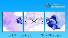 Wholesale flower customized acrylic wall art clock sets canvas printing for home decoration