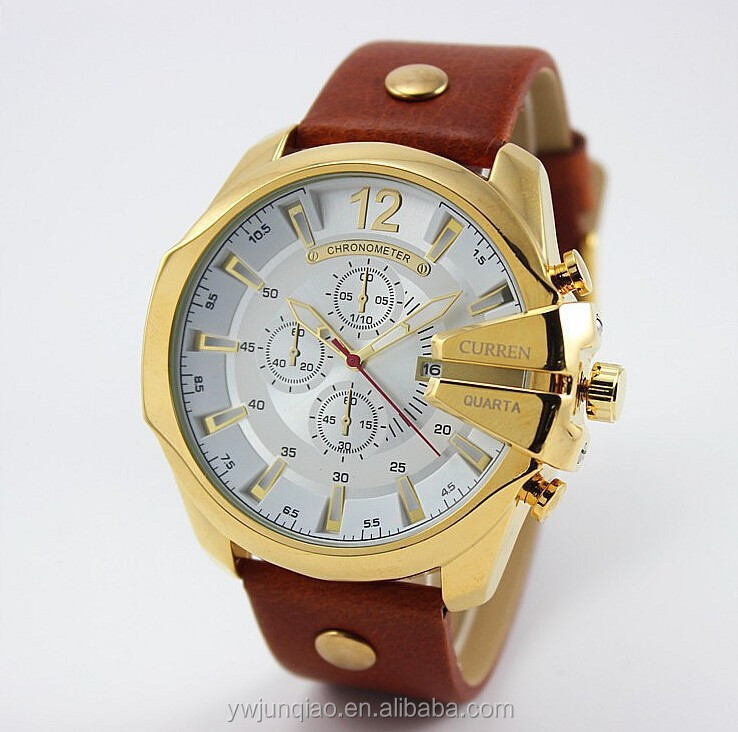2015 New Styple Sports Man Wrist Quartz Watches Leather Curren Watches Men With Date