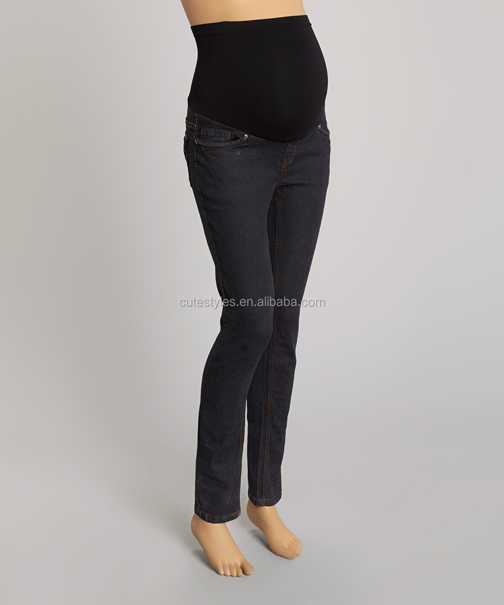 Winter Hot Sale Product Black Wash Over-Belly Maternity StraightLeg Jeans Women Long Pants WP80814-12