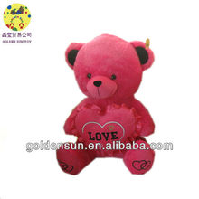 2013 Pink valentine plush bears with heart