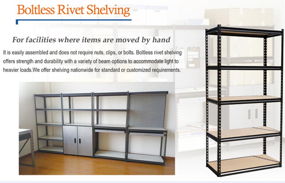 Steel boltless rack shelving