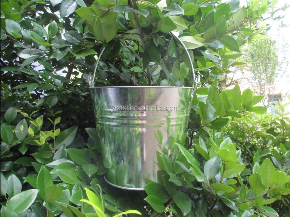 large galvanized metal ice bucket