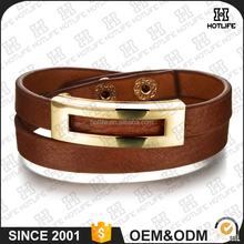 Retro Style Gold Plating Alloy Horse Hair Cuff Bangle Accessories Genuine Leather Wrap Bracelet Fashion