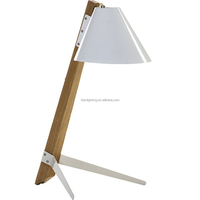 Wooden tripod desk lamp with white lampshade and switch