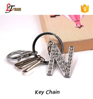 Promotional gifts cheap wholesale metal crystal letter n keychain