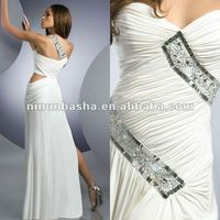 A line white crystal special flat sexy evening dress