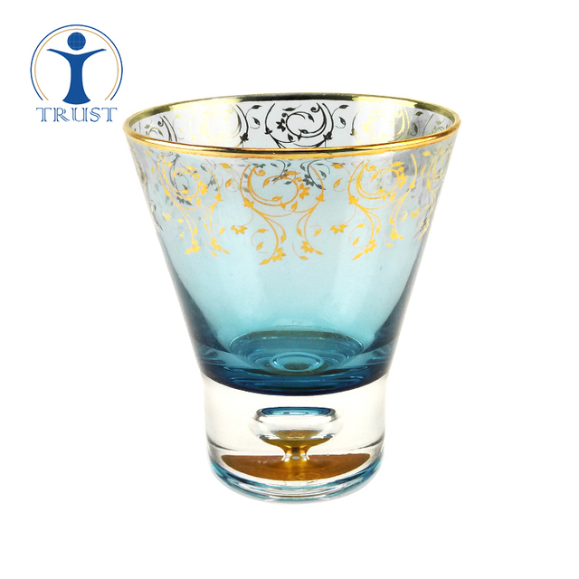 China Factory Whosale Classic Clear Tumbler Crystal High Quality 8oz Golden Fower Paper Bubble Whisky Stemless Glass