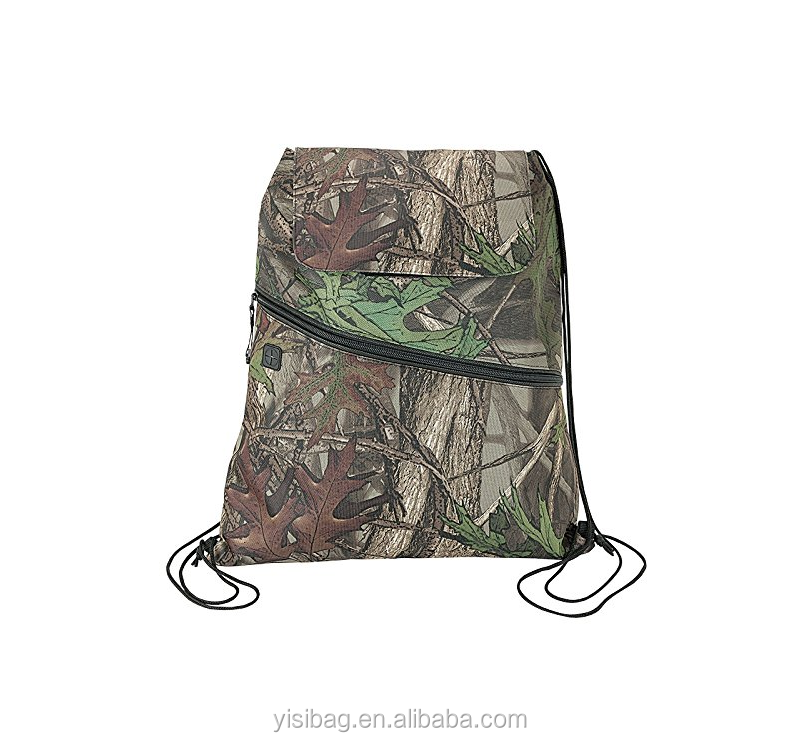 Camo Insulated Drawstring Backpack Cooler Bag