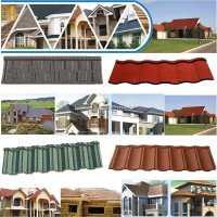 steel grey colorful stone coated steel roofing tiles--Nosen Type with high quality