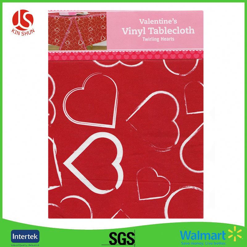 "84"" x 54"" Walmart Supplier Hearts-Themed Plastic Hard Tablecloth For Valentine"