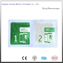 Glasses cleaning wet wipes and wet dry screen cleaning wipes 7*6cm from factory