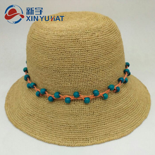 lady nature color beach raffia crocheted straw hat