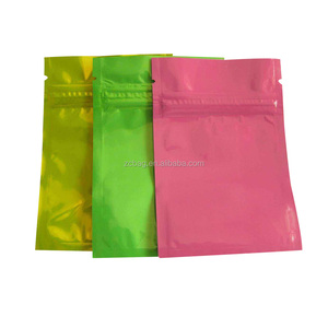 "5"" x 3"" Custom Printed Plastic Aluminum Foil Resealable Small Candy Packaging Bag Three Side Seal Zipper Pouch with Tear Notches"