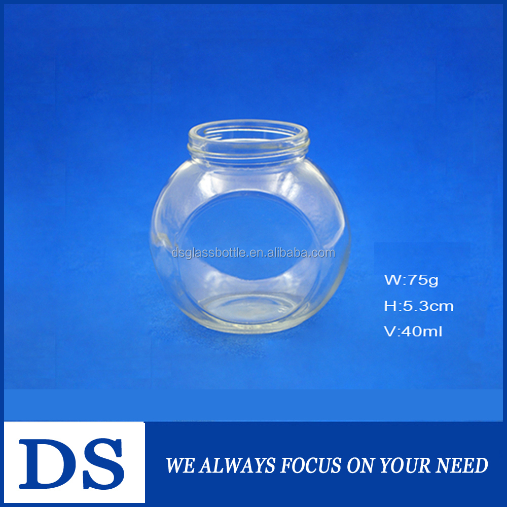 400ml mini flat drum shape clear glass jar for candy