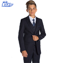2017 Design boys navy wedding suit kids dress sample with suit tie wholesale